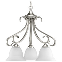 Progress P4405-09 Torino 3 Light 19 inch Brushed Nickel Chandelier Ceiling Light in Etched