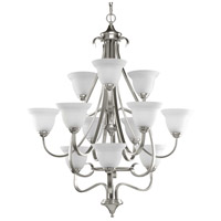 Progress P4419-09 Torino 12 Light 34 inch Brushed Nickel Foyer Chandelier Ceiling Light in Etched