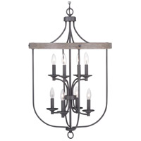 Progress P500158-143 Gulliver 8 Light 21 inch Graphite Foyer Pendant Ceiling Light
