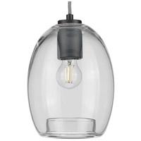 Progress P500159-143 Caisson 1 Light 8 inch Graphite Mini Pendant Ceiling Light