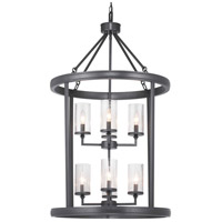 Progress P500165-143 Gresham 8 Light 24 inch Graphite Foyer Pendant Ceiling Light Design Series