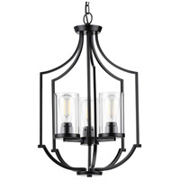 Progress P500209-031 Lassiter 3 Light 17 inch Matte Black Foyer Pendant Ceiling Light