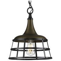 Progress P500236-161 Bastille 1 Light 12 inch Aged Brass Pendant Ceiling Light