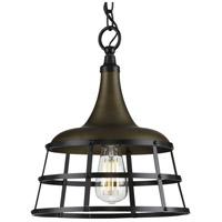 Progress P500236-161 Bastille 1 Light Aged Brass Pendant Ceiling Light
