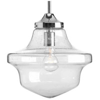 Progress P5138-15 Academy 1 Light Polished Chrome Pendant Ceiling Light in Clear Seeded Light Seeded Glass photo thumbnail