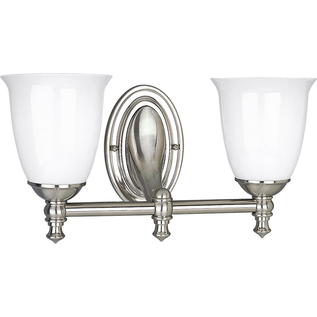 Polished Nickel Bathroom Vanity Light: Progress Lighting P3028-09 Victorian Bathroom Vanity Light