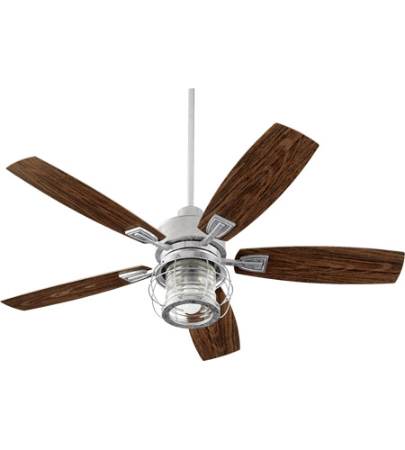 Perfect Quorum 13525 9 Galveston 52 Inch Galvanized With Walnut Blades Patio Fan