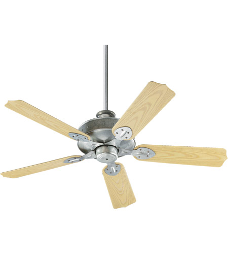 Quorum 137525-9 Hudson 52 inch Galvanized with Medium Oak Blades Outdoor Ceiling Fan photo