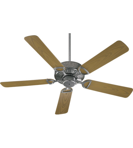 Quorum 143525-9 Estate Patio 52 inch Galvanized with Medium Oak Blades Outdoor Ceiling Fan in Light Kit Not Included photo