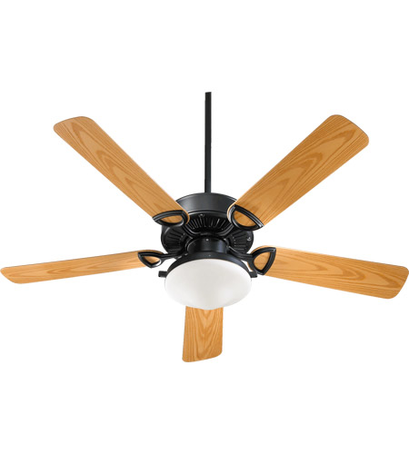 Quorum 143525-959 Estate Patio 52 inch Matte Black with Medium Oak Blades Outdoor Ceiling Fan in Satin Opal photo