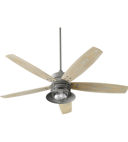 Quorum 14605-17 Portico 60 inch Zinc with Weathered Oak Blades Outdoor Ceiling Fan photo