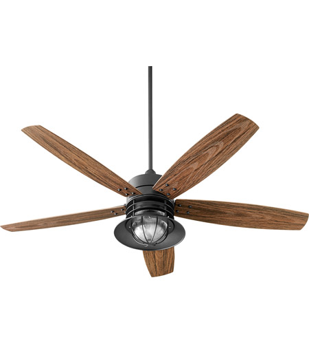 Quorum 14605-69 Portico 60 inch Noir with Walnut Blades Outdoor Ceiling Fan photo
