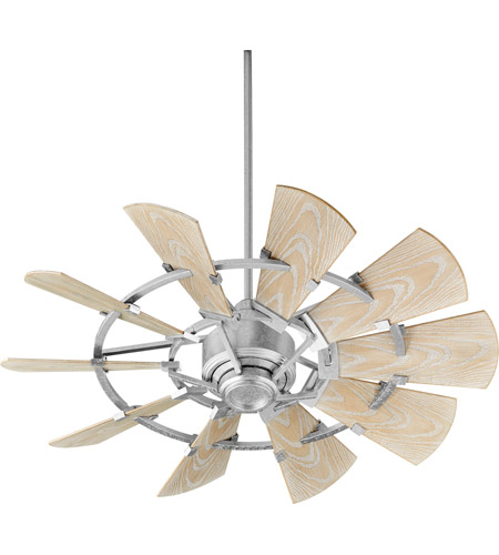 Quorum 194410-9 Windmill 44 inch Galvanized with Weathered Oak Blades Patio Fan photo