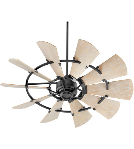 Quorum 195210-69 Windmill 52 inch Noir with Weathered Oak Blades Patio Fan photo