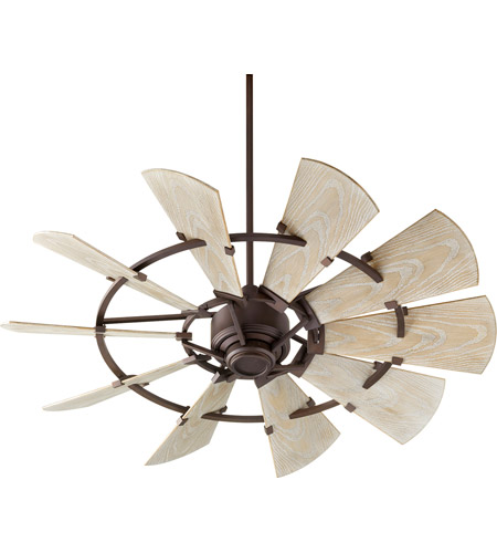 Quorum 195210 86 Windmill 52 Inch Oiled Bronze With Weathered Oak Blades Patio  Fan