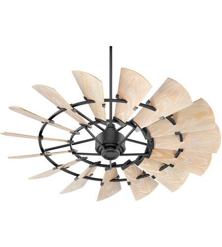Quorum 196015-69 Windmill 60 inch Noir with Weathered Oak Blades Patio Fan photo