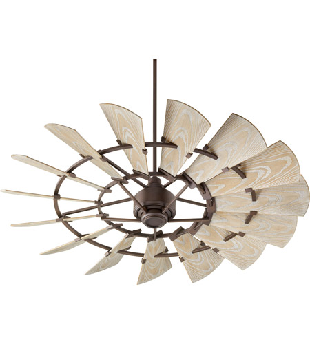 Quorum 196015-86 Windmill 60 inch Oiled Bronze with Weathered Oak Blades Outdoor Ceiling Fan  photo