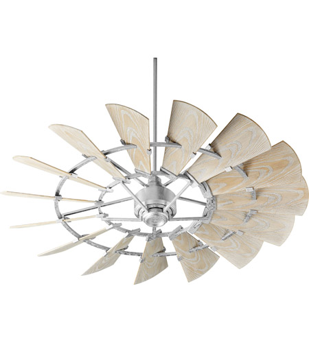 Quorum 196015-9 Windmill 60 inch Galvanized with Weathered Oak Blades Outdoor Ceiling Fan photo