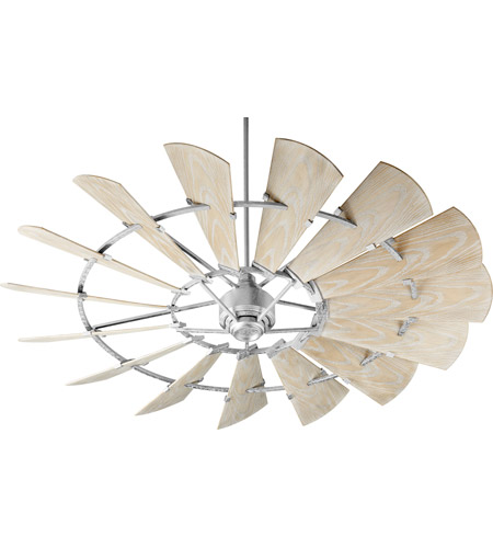 Quorum 197215-9 Windmill 72 inch Galvanized with Weathered Oak Blades Outdoor Ceiling Fan photo