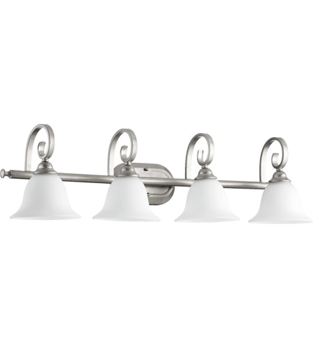 Quorum 5053-4-64 Celesta 4 Light 36 inch Classic Nickel Vanity Light Wall Light in Satin Opal photo