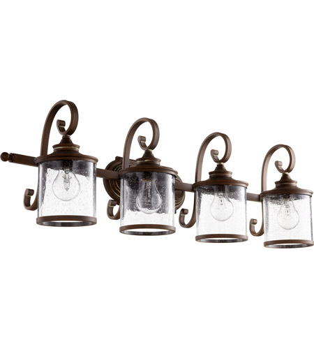 Quorum 5073-4-39 San Miguel 36 inch Vintage Copper Vanity Wall Light, Clear Seeded photo