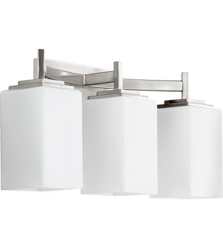 Galaxy Lighting Delta 3 Light Bathroom Vanity: Quorum International Delta 3 Light Vanity Light In Satin Nickel 5084-3-65