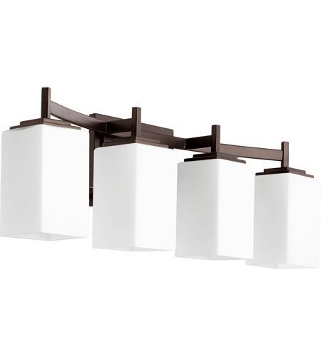 Galaxy Lighting Delta 3 Light Bathroom Vanity: Quorum 5084-4-86 Delta 4 Light 28 Inch Oiled Bronze Vanity Light Wall Light
