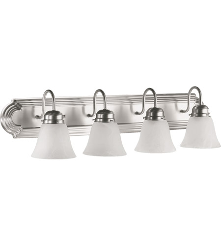 Quorum 5094-4-165 Signature 4 Light 30 inch Satin Nickel Vanity Light Wall Light in Faux Alabaster  photo