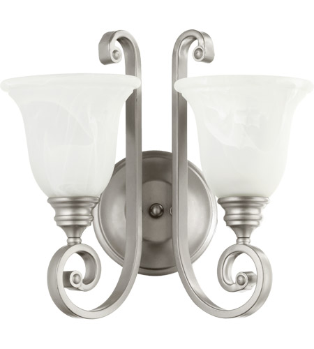 Quorum 5454-2-64 Bryant 2 Light 15 inch Classic Nickel Wall Sconce Wall Light in Faux Alabaster photo
