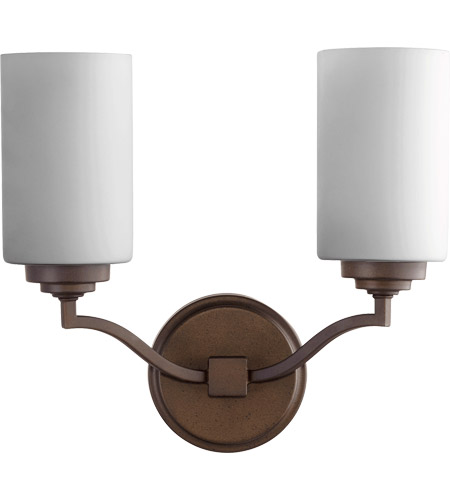 Quorum 5496-2-186 Atwood 13 inch Oiled Bronze Wall Mount Wall Light in Satin Opal, Satin Opal photo