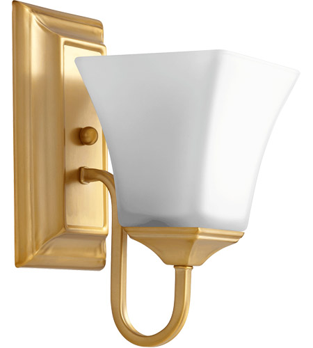 Quorum 5504-1-80 Signature 5 inch Aged Brass Wall Mount Wall Light, Satin Opal photo