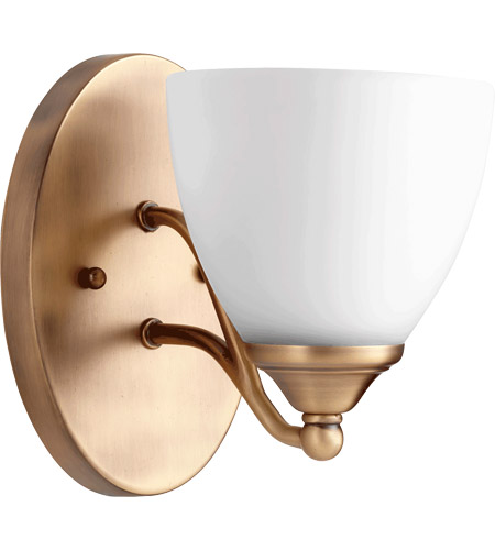 Quorum 5550-1-80 Brooks 6 inch Aged Brass Wall Mount Wall Light, Satin Opal photo thumbnail