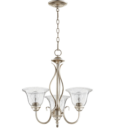 Quorum 6010-3-60 Spencer 20 inch Aged Silver Leaf Chandelier Ceiling Light in Clear Seeded, Clear Seeded photo