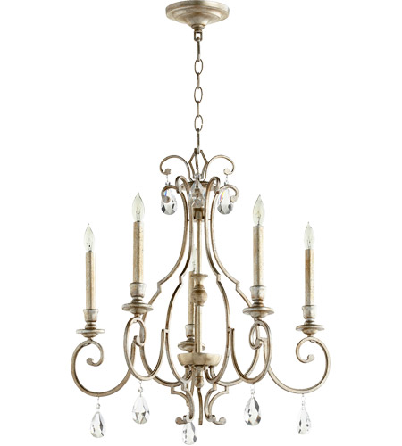 Quorum 6014-5-60 Ansley 5 Light 24 inch Aged Silver Leaf Chandelier Ceiling Light photo