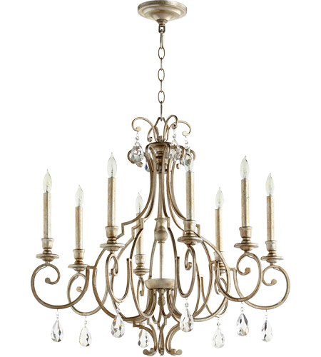 quorum ansley 8 light 29 inch aged silver leaf chandelier ceiling light
