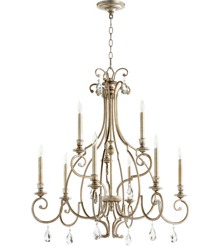 Quorum 6014-9-60 Ansley 9 Light 31 inch Aged Silver Leaf Chandelier Ceiling Light photo