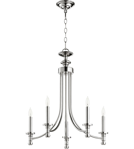 Quorum 6022-5-62 Rossington 5 Light 22 inch Polished Nickel Chandelier Ceiling Light photo