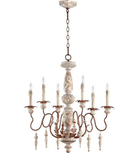 Quorum 6052-6-56 La Maison 6 Light 26 inch Manchester Grey with Rust Accents Chandelier Ceiling Light photo