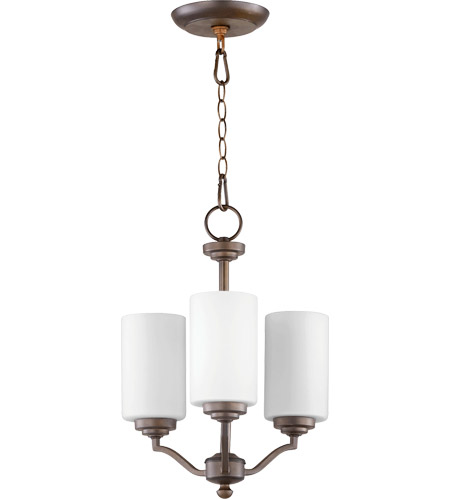 Quorum 6096-3-186 Atwood 15 inch Oiled Bronze Chandelier Ceiling Light in Satin Opal, Satin Opal photo