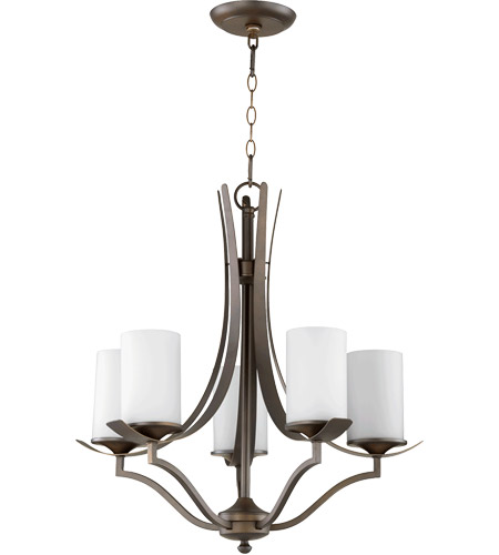 Quorum 6096-5-186 Atwood 22 inch Oiled Bronze Chandelier Ceiling Light in Satin Opal, Satin Opal photo