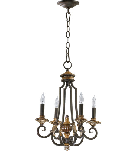 Quorum 6101-4-44 Capella 4 Light 15 inch Toasted Sienna With Golden Fawn Chandelier Ceiling Light photo