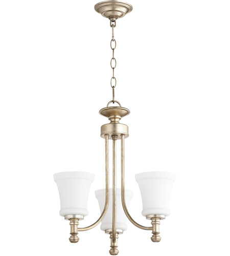 Quorum 6122-3-60 Rossington 3 Light 18 inch Aged Silver Leaf Chandelier Ceiling Light photo thumbnail