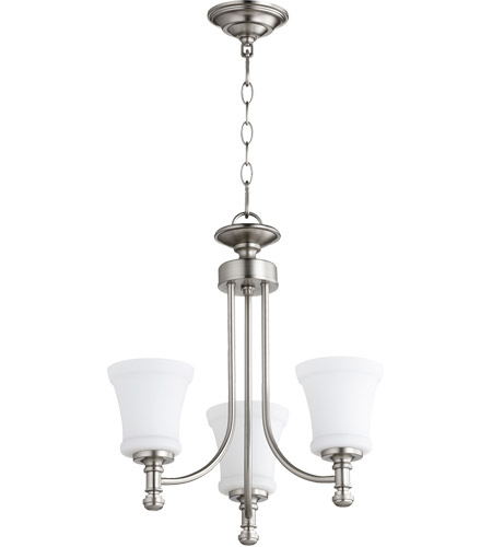 Quorum 6122-3-65 Rossington 3 Light 18 inch Satin Nickel Chandelier Ceiling Light photo thumbnail