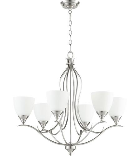 Quorum 614 6 65 Flora 6 Light 29 Inch Satin Nickel Chandelier Ceiling Light