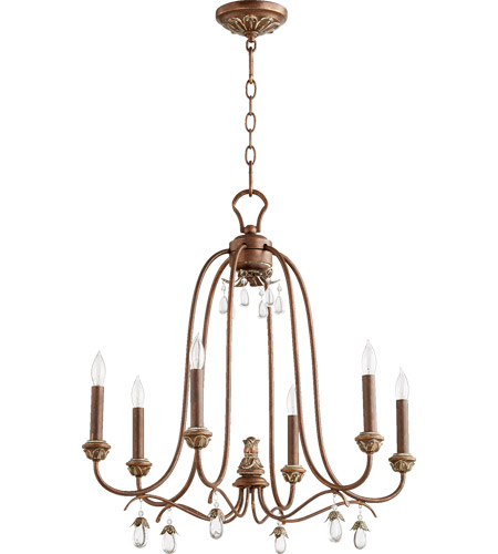 quorum 6144 6 39 venice 6 light 25 inch vintage copper chandelier