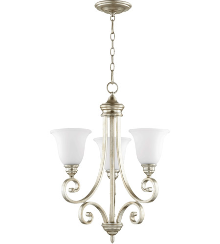 Quorum 6154-3-60 Bryant 21 inch Aged Silver Leaf Chandelier Ceiling Light in Satin Opal, Satin Opal photo