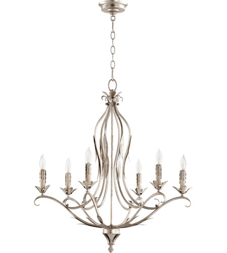 Quorum 6172 6 60 Flora 6 Light 26 Inch Aged Silver Leaf Chandelier