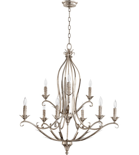 Quorum 6172 9 60 Flora 9 Light 31 Inch Aged Silver Leaf Chandelier