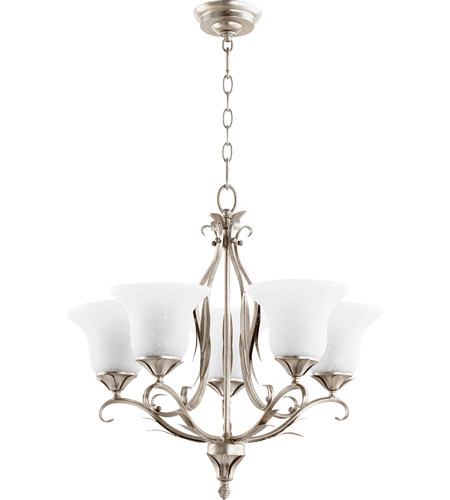Quorum 6272 5 60 Flora 5 Light 24 Inch Aged Silver Leaf Chandelier