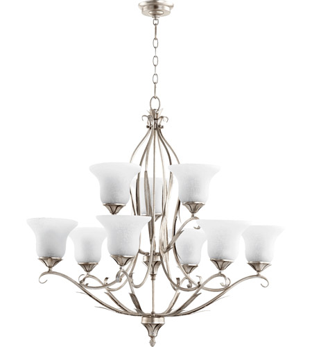 Quorum 6272 9 60 Flora 9 Light 36 Inch Aged Silver Leaf Chandelier
